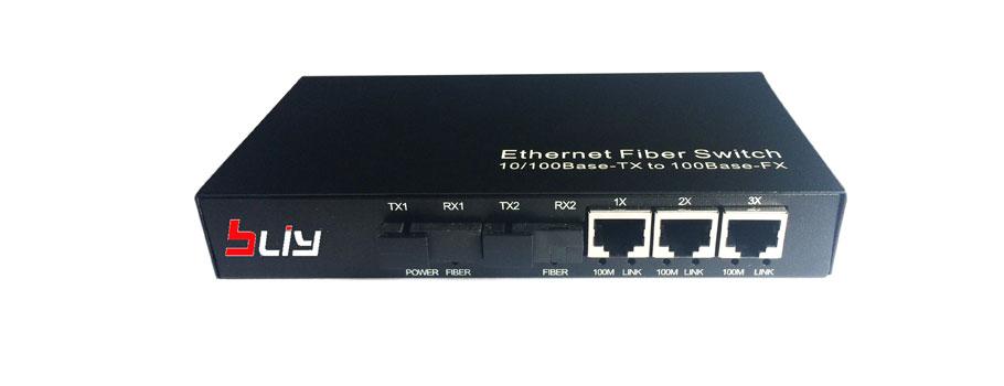 百兆2光3电光纤交换机